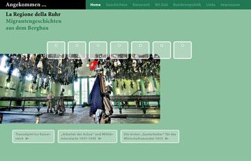 Screenshot des Projektes Angekommen La Regione della Ruhr
